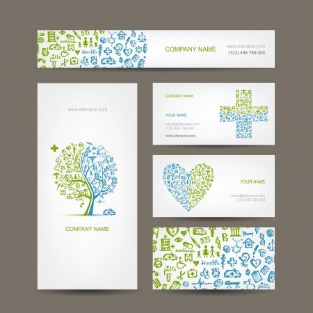 Visitekaartjes met medische objecten voor uw ontwerp