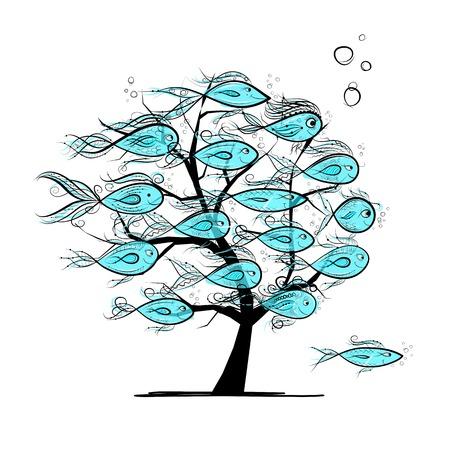 Underwater Baum mit lustigen Fischen f?r Ihr Design