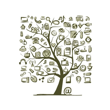 Art tree with IT devices for your design Vector