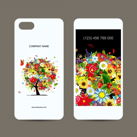 cases: Mobile phone cover back and screen, floral tree for your design
