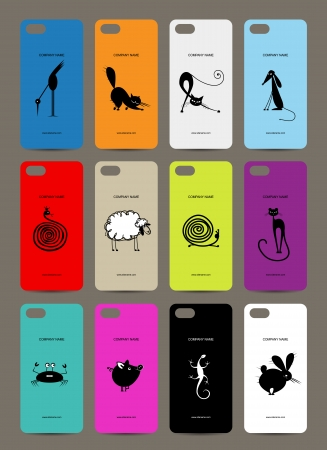 Mobile phone cover back , 12 funny animals for your design Vector