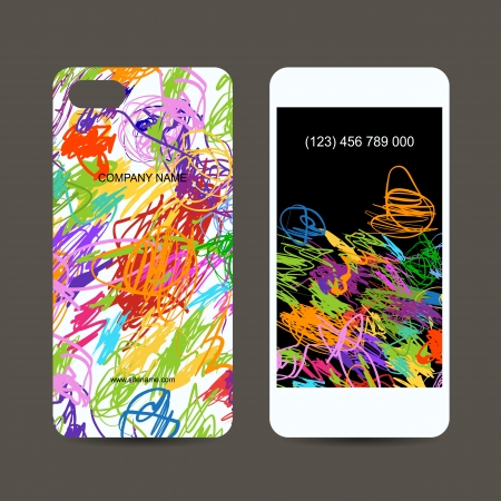 Mobile phone cover back and screen, children doodles design Vector
