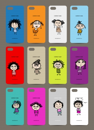 Mobile phone cover back , 12 funny girls for your design Vector