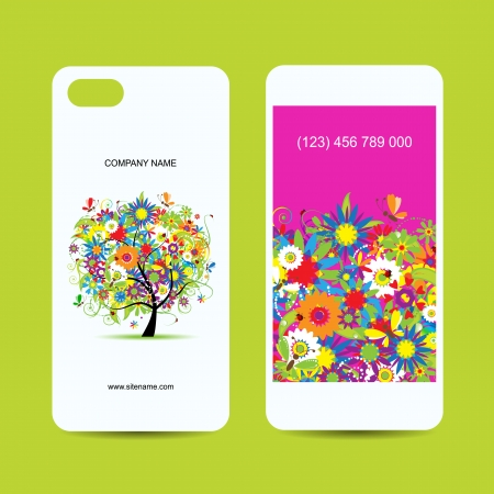 Mobile phone cover back and screen, floral tree for your design Vector
