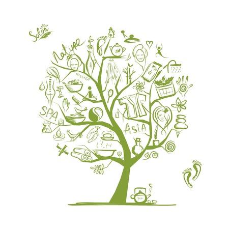 Massage und Spa-Konzept, Kunst-Baum für Ihr Design