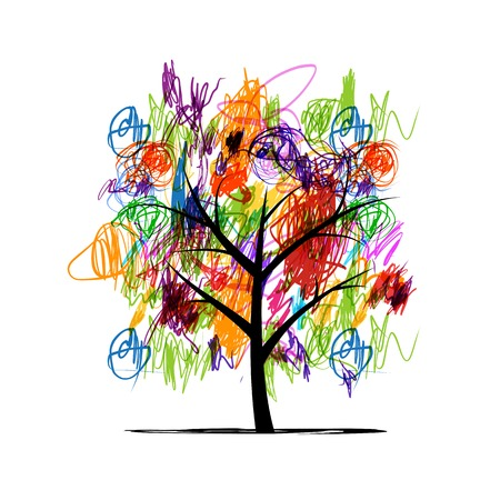abstract paintings: Abstract tree with children paintings