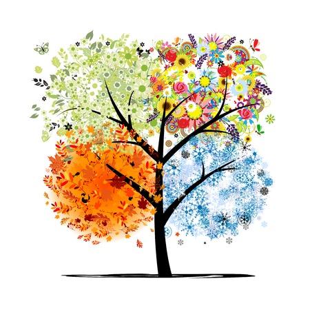 Quatre saisons - printemps, ?t?, automne, hiver. Art arbre magnifique pour votre conception  Banque d'images - 22842539