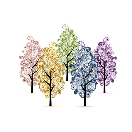 작은 숲: 귀하의 디자인에 대 한 나무 과수원 일러스트