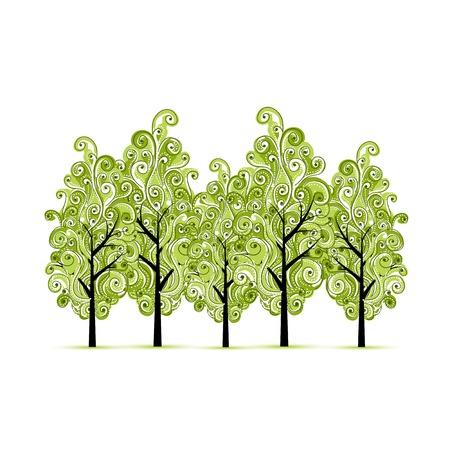 arboleda: Arboleda verde con ?rboles para su dise?o Vectores