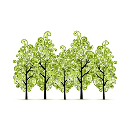 grove: Green grove with trees for your design
