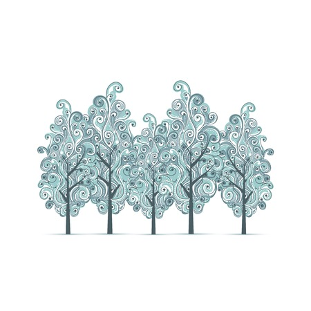 작은 숲: 귀하의 디자인에 대 한 겨울 나무와 과수원 일러스트