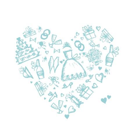 결혼식 배경, 귀하의 디자인에 대 한 심장 모양 일러스트