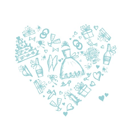 lady bird: Wedding background, heart shape for your design