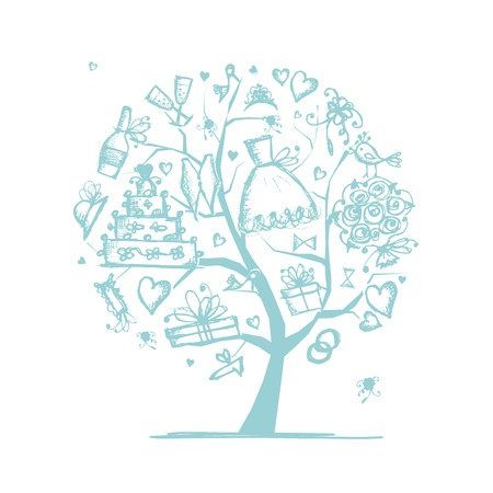 bird icon: Wedding tree concept  for your design Illustration