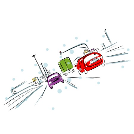Skizze der befahrenen Stra?e in der Stadt f?r Ihr Design Illustration