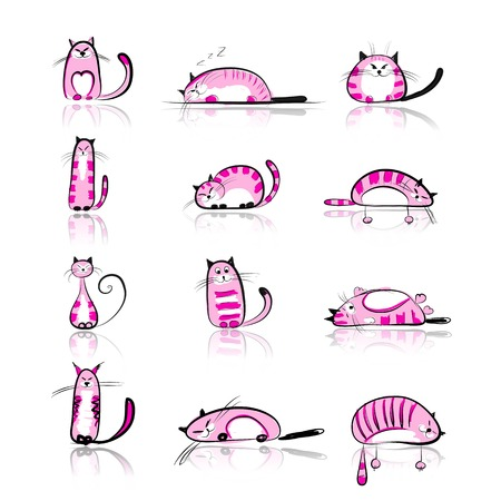 siamese: Funny pink cats collection for your design