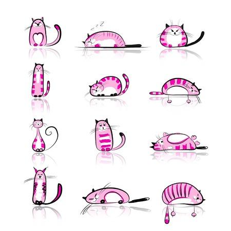 Lustige rosa Katzen Sammlung für Ihr Design Illustration