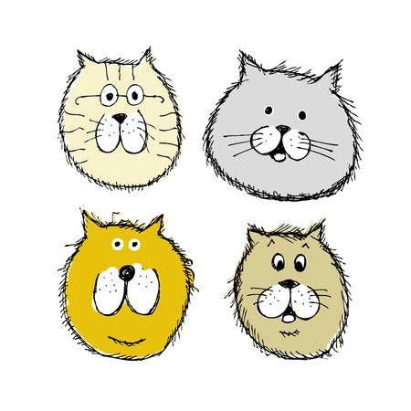 Cat and dogs faces, sketch for your design Vector