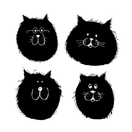 Cat and dogs faces silhouette, sketch for your design Illustration