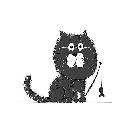 Katze und Hunde Skizze für Ihr Design Standard-Bild - 23210876