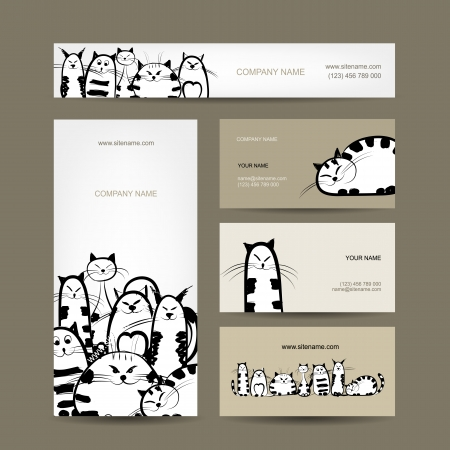 Corporate business cards design with funny striped cats Illustration