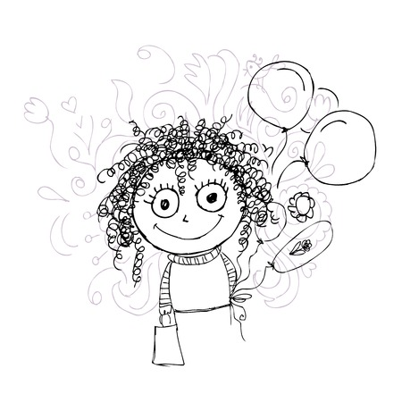 frizzy: Curly girl sketch with balloons for your design