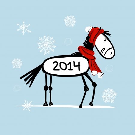 Santa horse sketch for your design. Symbol of 2014 year Vector