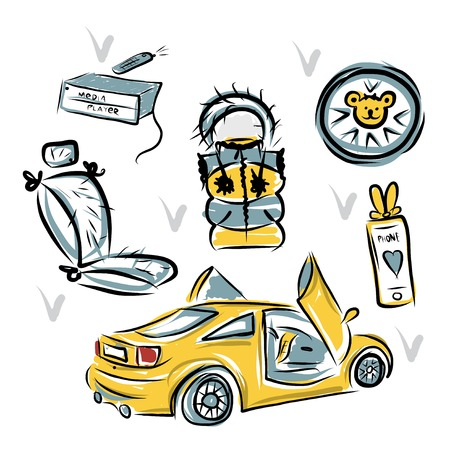 Yellow sport car with lamba doors for your design Çizim