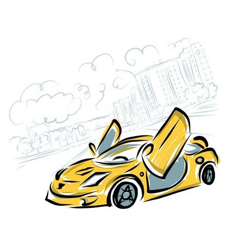 Yellow sport car on city background for your design Stock Vector - 23228630