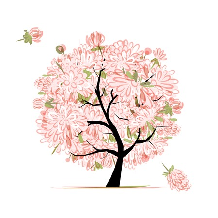 Pink floral tree, sketch for your design