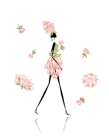 Floral girl for your design Vector