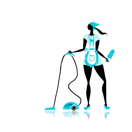 vacuum: Girl maid with vacuum cleaner for your design
