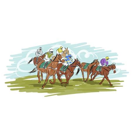 corse di cavalli: Corse di cavalli, schizzo per la progettazione Vettoriali