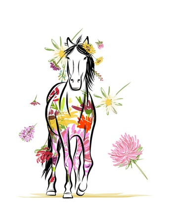 Floral horse for your design. Symbol of 2014 year Vector
