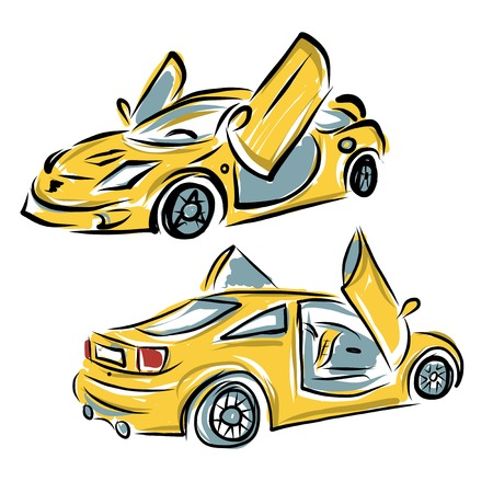 rally car: Yellow sport car with lamba doors for your design Illustration