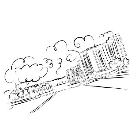 trekken: Schets van cityscape voor uw ontwerp Stock Illustratie