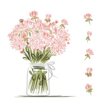 핑크 꽃, 디자인을위한 스케치 꽃병 일러스트