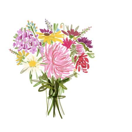 Bloemen zomerboeket voor uw ontwerp Stock Illustratie