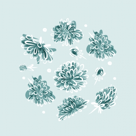 Frozen flowers, background for your design Vector