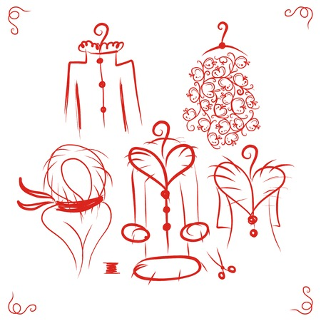 dress coat: Coats on hangers, sketch for your design Illustration