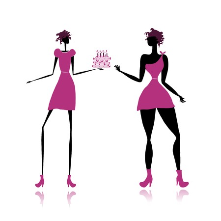 Thick and slim lady with cake for your design Stock Vector - 23228798