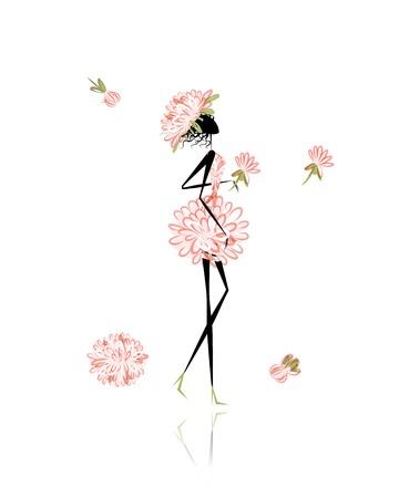 Floral girl for your design Illustration