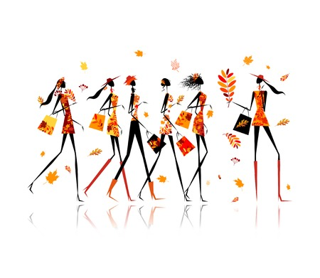 Girls with shopping bags, autumn sale for your design Ilustração