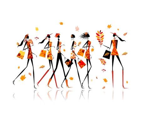 Las niñas con bolsas de la compra, la venta de otoño para el diseño Foto de archivo - 23228827