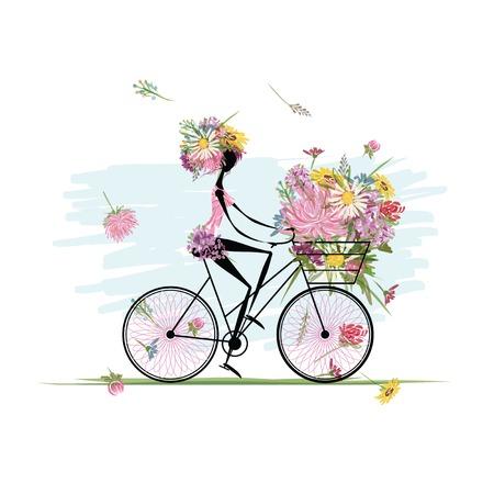 Mädchen mit Blumen-Bouquet im Korb Radfahren