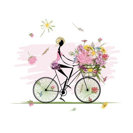 バスケットの花の花束を持つ少女サイクリング  イラスト・ベクター素材