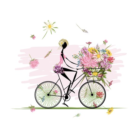 autumn woman: Girl with floral bouquet in basket cycling