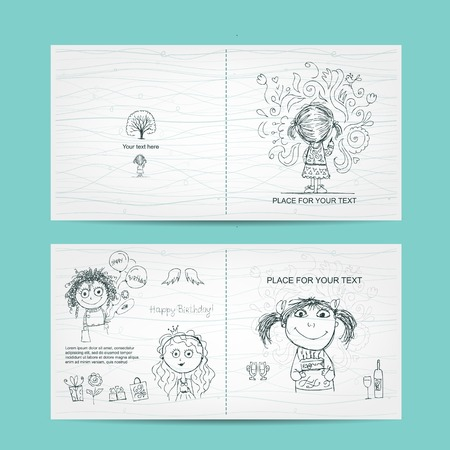 Birthday card template with cute girls, sketch for your design Vector