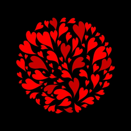 Red hearts background for your design Vector