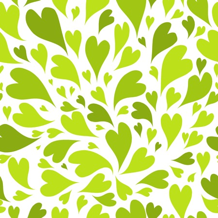 Seamless pattern with green hearts for your design Vector